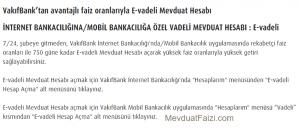 Vakıfbank E-Vadeli Mevduat